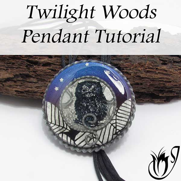 Twilight Woods Polymer Clay Pendant