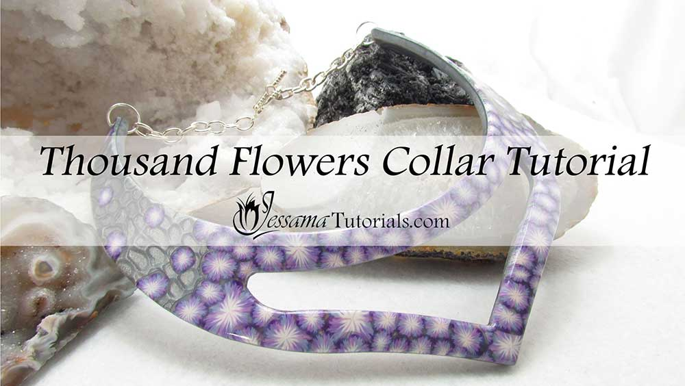 Thousand flowers polymer clay collar